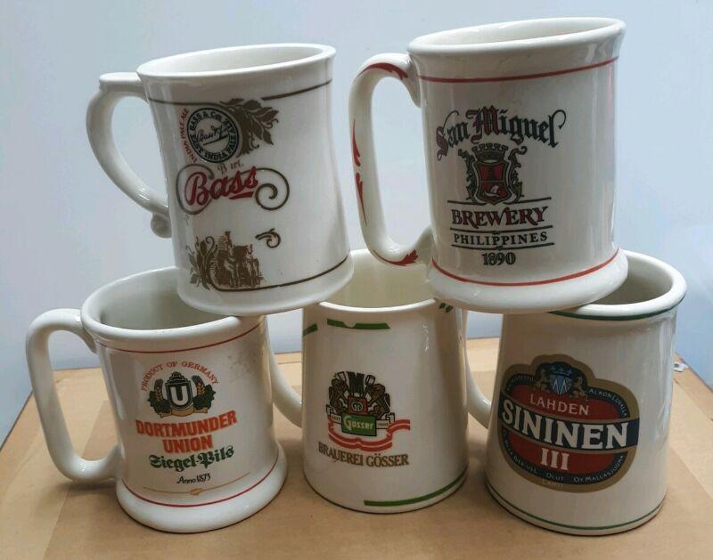 1981 Franklin Porcelain Mini Beer Stein Mug Lot Of 6 Gosser Bass Lahden & More