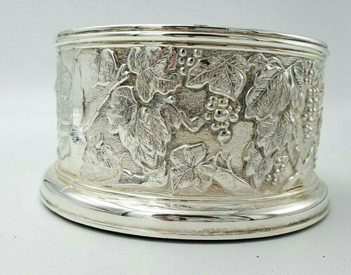 Silverplate Wine Coaster with Grapes on Silver and Bottom Inside 9994