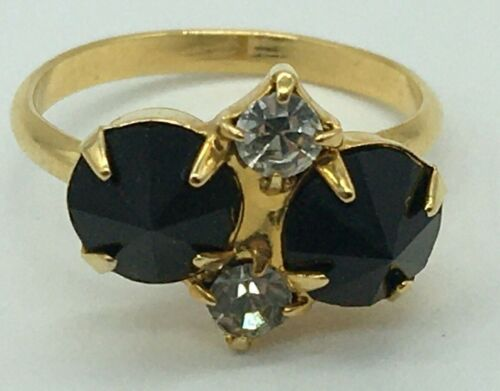 VINTAGE GOLD TONE BLACK AND CLEAR RHINESTONE ADJUSTABLE COCKTAIL RING