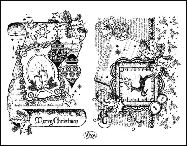 Silikonstempel 090 Schriftrolle Merry Christmas Weihnachtspost Collage
