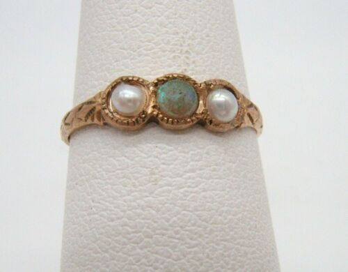 ANTIQUE 10K GOLD PEARL & OPAL RING