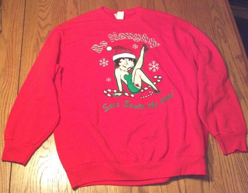 "Betty Boop ""Be Naughty"" XL Red Sweatshirt - Christmas/Santa NEW"