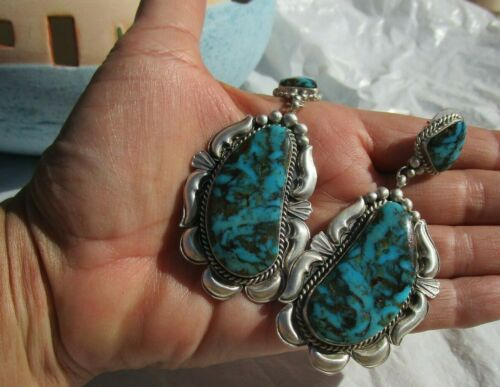 Native American Navajo earrings NEW HUGE signed turquoise sterling silver