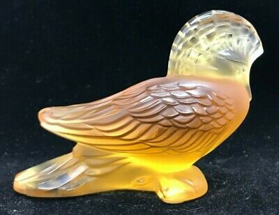 LALIQUE - SIGNED - VERY RARE AMBER GOURA - CROWNED PIGEON - NEW GUINEA
