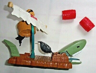 Fisher Price Great Adventures Pirate Ship: Shark Raft w/ 2 Barrels Flawless EC