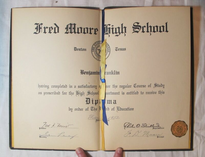 RARE 1952 FRED MOORE HIGH SCHOOL DIPLOMA DENTON TX ALL BLACK SEGREGATED SCHOOL