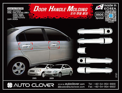 Chrome Door Handle Molding Trim Cover for 05-10 Hyundai Accent Brio A_r