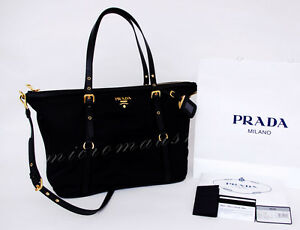 100% AUTHENTIC Prada TESSUTO Nylon tote bag w.SAFFIANO leather details brand new