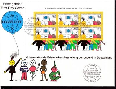 BRD 1990 Block 21  künstler FDC mit MiNr. 1472 Briefmarkenausstellung der Jugend