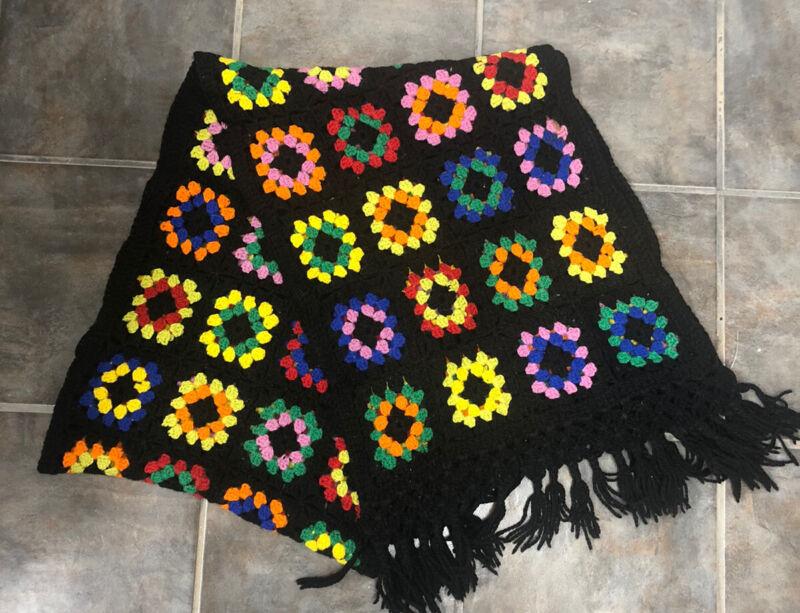 Vintage Crochet Granny Square Table Runner 16 1/2 x 88