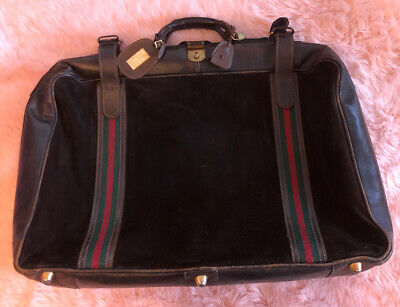 Vintage 60s 70s Gucci Red Green Stripe Luggage Suede Leather Large Zip & Strap