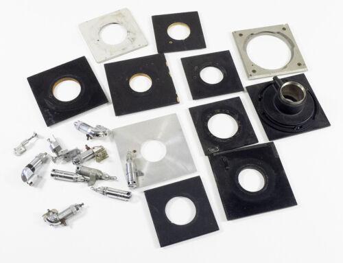 Lot of 11 3x4, 4x5 Graflex Lens Boards, 8 Solenoids, 3 Shutter Release Plungers
