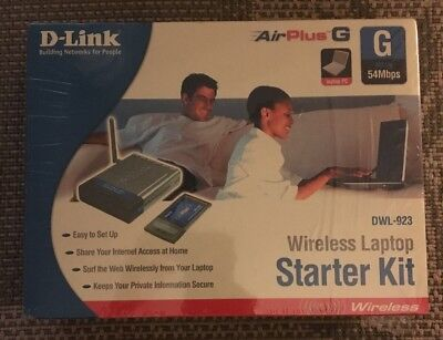 D-Link Air Plus 54mbps 802.11g/2.4ghz Wireless Laptop PC Kit DWL-923 NEW SEALED!