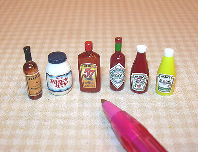 Miniature Condiment Assortment #1  (6): DOLLHOUSE Miniatures 1/12 Scale on Rummage