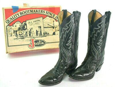JUSTIN Black Exotic Lizard Skin Cowboy Boots #8313 Men's Size 7D - EUC Black Lizard Cowboy Boots