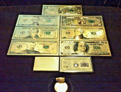 FULL GOLD Banknote Set MINT Condition $1,$,5,10,20,50,$100 W/ CERTIFICATE+MORE!q