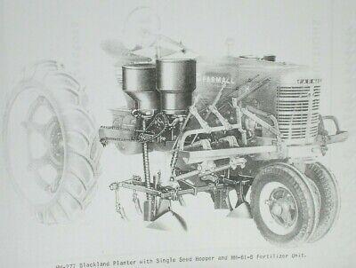 Hm-277 Mccormick Ih Farmall 2 Row Mounted Blackland Planter Manual Super H M