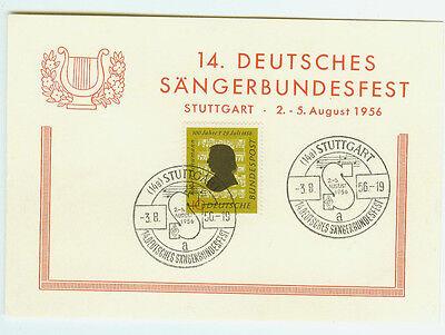 BRD FDC Ersttagsbrief Karte 1956 Sängerbundfest Stuttgart Mi.Nr.234