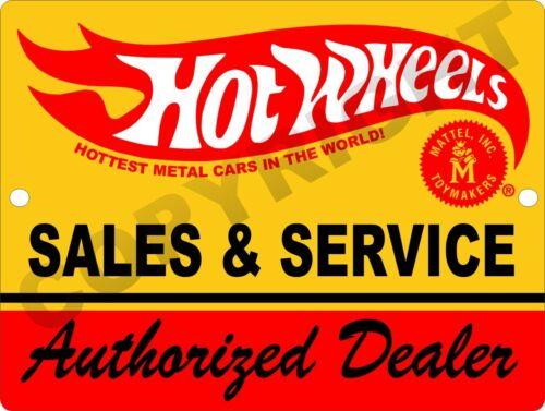 "Hot Wheels Authorized Dealer Sales & Service 9""x12"" Tin Aluminum Sign #1"