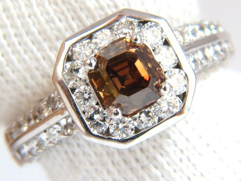 █$8000 2.22CT NATURAL FANCY GOLDEN BROWN ASSCHER CUT DIAMOND RING 14KT VS