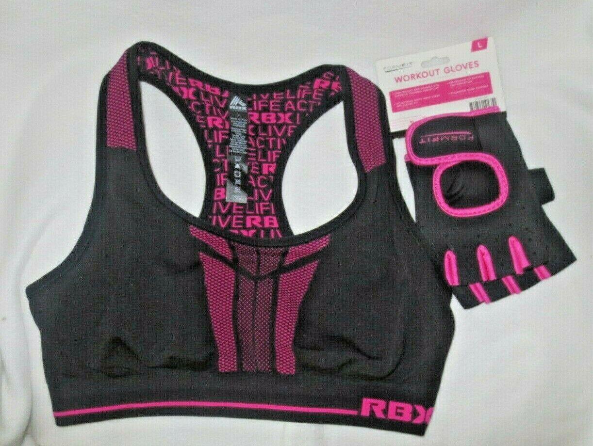REEBOK Women's Yoga Athletic Workout Pink Sports Bra & Glove
