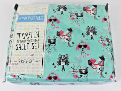 Bedtime Twin Dogs Puppy Glasses 3 pc Sheet Set Kids New Aqua Pink Bedding Girls