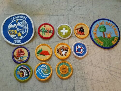 Lot of 12 NEW  Vintage Girl Scout patches 1978 discover me 1980 camporee & more