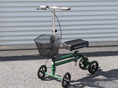 Steerable Knee Walker Scooter Turning Folding with Disc Brake & Basket Green