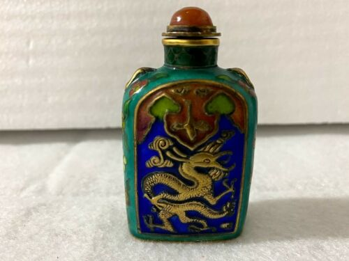 Antique Chinese Enamel Scent / Snuff / Perfume Bottle in Original Box