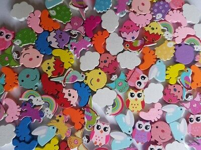 Cute Colourful Wooden Beads for Bracelets Necklaces Kids Craft Wood Animals UK ()