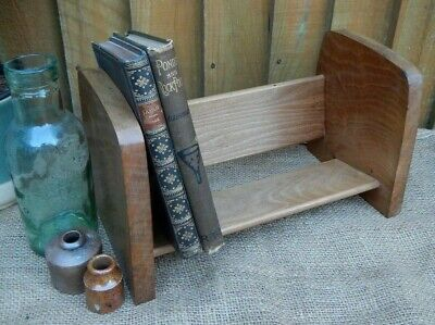 VINTAGE ART DECO SOLID WALNUT SMALL TABLE TOP~DESK,  BOOK RACK~BOOK STAND