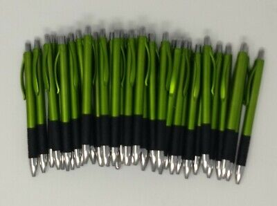 New 40 Ct Lot Olive Metallic Green Plastic Retractable Click Pens Wrubber Grip