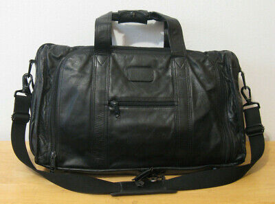 "Vintage TUMI black leather 21"" Carry-On WEEKENDER / DUFFLE BAG"