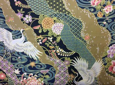 TP035 Crane Bird Asian Japanese Water Wave Floral Sashiko Cotton Quilt Fabric