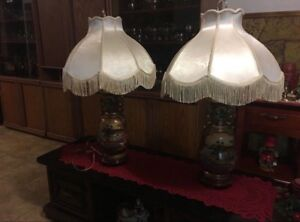 Beautiful handcrafted china lamps & matching set for sale.