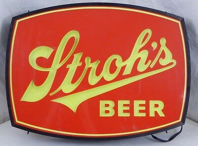 VINTAGE 1970'S STROHS BEER PLASTIC & METAL DOUBLE SIDED LIGHTED ADVERTISING SIGN