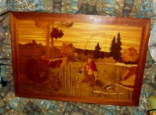 VTG HANDMADE OOAK INLAY WOOD FISHERMAN PICTURE FOR CABIN