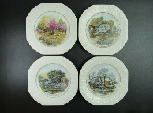 """Set of 4 Lord Nelson Pottery Four Seasons Currier & Ives Plates 8.5"""" Embossed"""