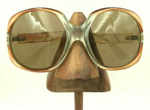 Vintage Brown Oversized Round Sunglasses Eyeglasses Frames France