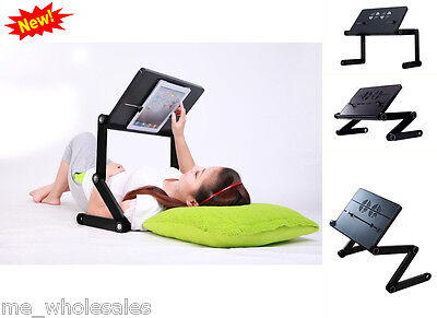 Notebook Computer Stand IPad Adjustable Vented Laid Back Tablet Table Desk Black