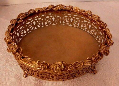 Vintage Gold Glass Ormolu Metal Oval Filigree Jewelry Casket Box