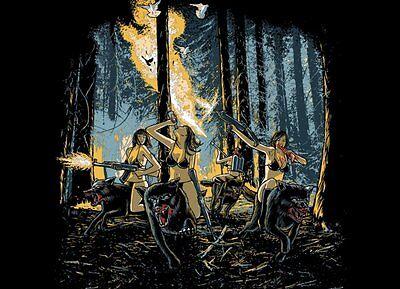Threadless T-Shirt HOT CHICKS ON WOLVES Gr L zombie nude girls love machine guns