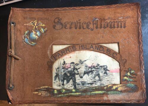 Leather Bound Marine Corps Parris Island Service Photo Album WW2 Era