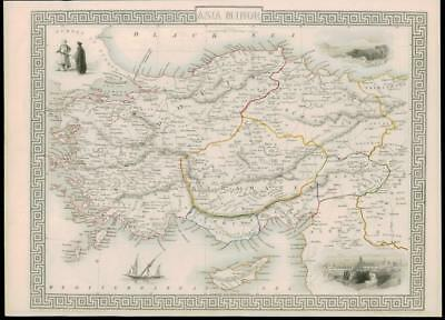 1850 Original Antique Map ASIA MINOR - Cyprus Turkey Syria Rhodes (29dw)