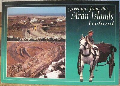 Irish Postcard GREETINGS ARAN ISLANDS Multiview Ireland Gaeilge John Hinde 2/654
