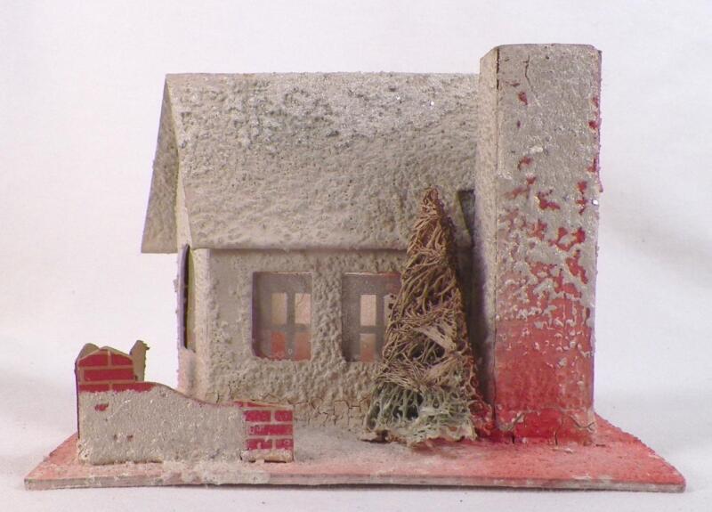 Vintage Christmas House Train Yard Putz Display Cream Pink Cardboard Tree #111
