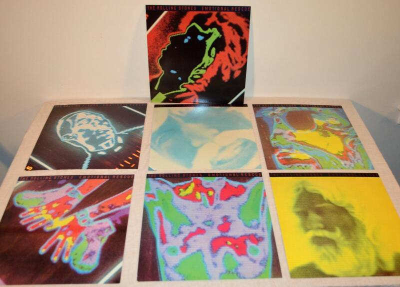 """ROLLING STONES 7 Rare US Promo Record Flats Posters 12"""" x 12""""  Emotional Rescue"""