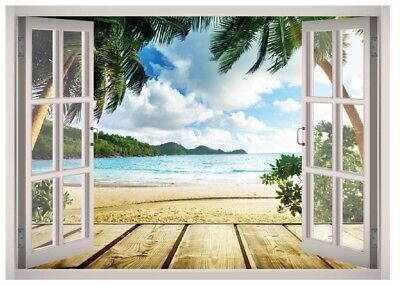 Caribbean Beach Window 3D Wall Decal Art Mural Home Decor Canvas Vinyl W63 - Caribbean Decor