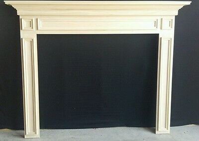 "WOOD -Fireplace Mantel Surround, PAINT GRADE, New, 48"" X 42"" Inside opening"