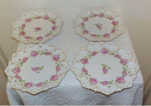 """FOUR  Vintage MZ Austria Porcelain Drop ROSES 8"""" Salad Plates  Plates"""